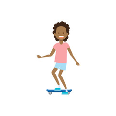 african young girl riding electro scooter over white background. cartoon full length character. flat style vector illustration