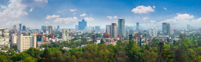 Panoramic view of Mexico city. Wall mural