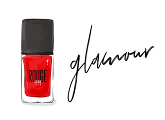 Vector red nail polish bottle. Beauty cosmetics red liquid glamour poster. Woman fashion illustration. Nailpolish makeup sketch. Rouge 999 cool modern decoration