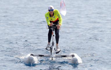 Princess Charlene of Monaco competes in the Riviera Water Bike Challenge in support of the Princess Charlene foundation in Monaco