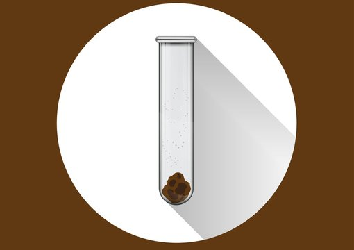 Medical test of feces in a test tube in a wite circle with shaddow and brown background. Vector illustration