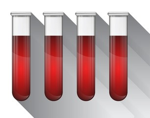 Different blood in test tube illustration