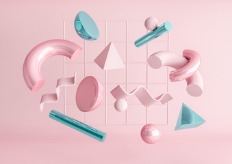 Fototapeta 3d render realistic primitives composition. Flying shapes in motion isolated on pink background. Abstract theme for trendy designs. Spheres, torus, tubes, cones in metallic blue and pink colors. obraz