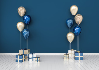 3D interior illustration with dark blue golden sequins balloons and gift boxes. Glossy metallic composition with empty space for birthday, party or other promotion social media banners.