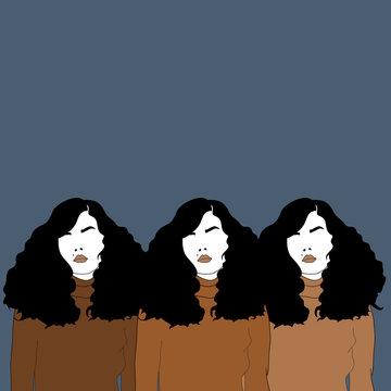 Illustration of three women
