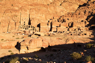 The Urn Tomb at Petra at Sunset, Jordan