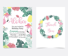 Green pink invitation card with plam, pineapple,hibiscus,flamingo,banana leaf,wreath and flower in summer