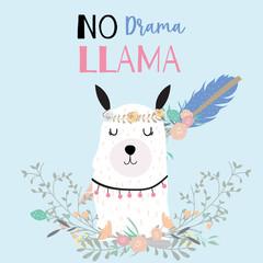 Hand drawn cute card with llama,arrow,wreath,flower,leaf.No drama llama