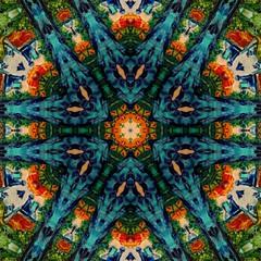 Original oil painting mandala. Mystic pictorial art. Magic sacred geometry. Meditative indian artwork. Feng shui and yoga traditional design pattern. Fantasy fractal symmetric creative print.