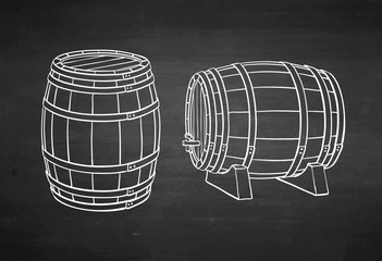 Chalk sketch of barrels.