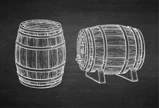Chalk sketch of barrels.