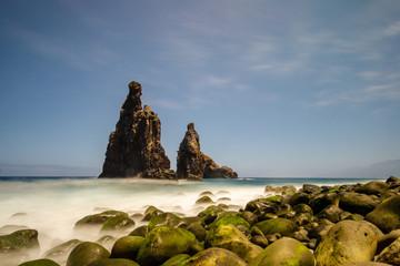 rocky stone coast with the sea waves
