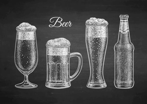 Chalk sketch of beer