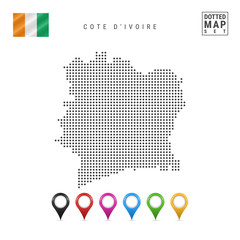 Vector Dotted Map of Cote D'Ivoire. Simple Silhouette of Cote D'Ivoire. Flag of Cote D'Ivoire. Multicolored Map Markers