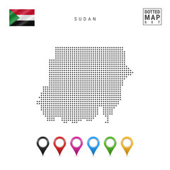 Vector Dotted Map of Sudan. Simple Silhouette of Sudan. The National Flag of Sudan. Set of Multicolored Map Markers