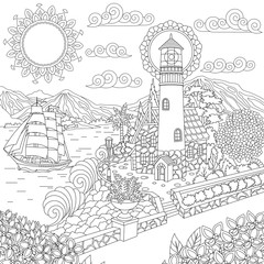 Lighthouse on sea shore and sailing ship. Coloring Page. Colouring picture. Adult Coloring Book idea.