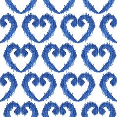 seamless blue heart shape ikat watercolor pattern on white background, ethnic fashion for textile, illustration