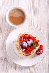 Pancakes with berry topping