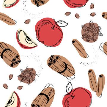Apple with cinnamon seamless pattern.