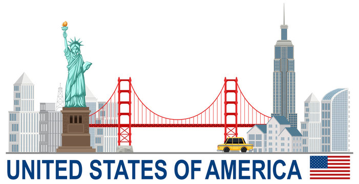 United states of america with landamrks