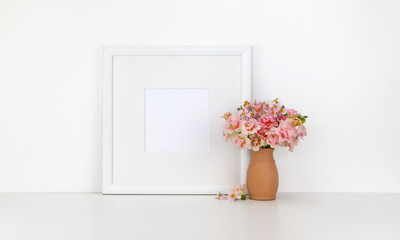 Square frame mockup on white background