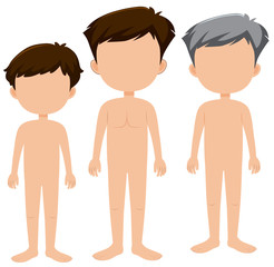 Set of blank males characters