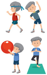 A Set of Older Man Exercise