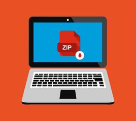 Download document file zip sheet button computer laptop pc. Downloading element concept. Vector flat illustration