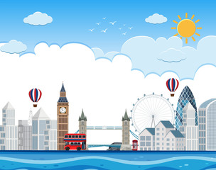 London cityscape on river
