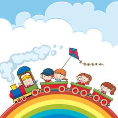 Train going over a rainbow