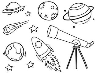 Set of space doodles