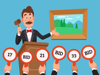 Man on stand leading auction hold gavel. People make bets on auctions bidding by raising bid paddles with numbers vector illustration