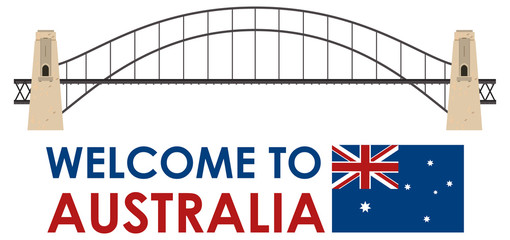 Australia Harbor Bridge on White Background