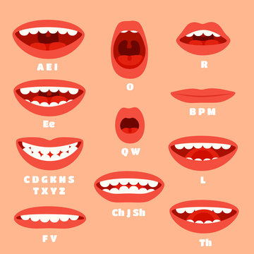 Expressive cartoon articulation mouth, lips. Lip sync animation phonemes for expression affront, speaking and talk accents vector set