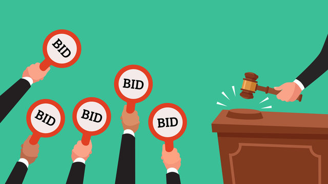 Auctioneer hold gavel in hand. Buyers raising arm holding bid paddles with numbers of price. Auction bidding vector illustration