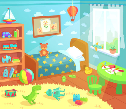 Cartoon kids bedroom interior. Home childrens room with kid bed, child toys and light from window vector illustration