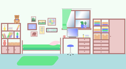 A doom room for single young girl or teenager. A room with interior and with furniture. Flat style illustration