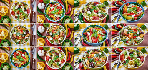 Tuna, Vitaminic green and Greek salad with feta and tasty selection of vegetables. Collage of twelve photos.