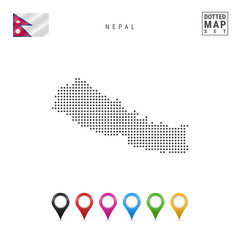 Vector Dotted Map of Nepal. Simple Silhouette of Nepal. The National Flag of Nepal. Set of Multicolored Map Markers