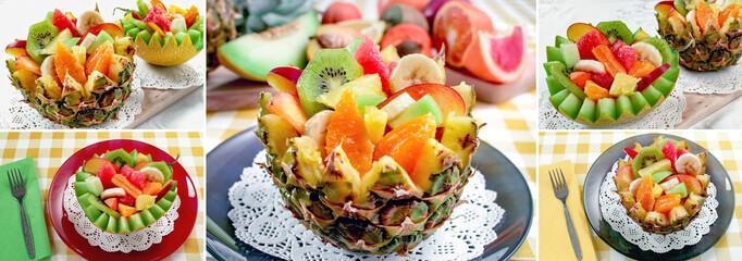 Fresh fruit salad. Two fresh fruit salad with kiwi, banana, peach, orange, red orange, apricot and melon in handmade melon and pinapple bowl. Collage of set photos.