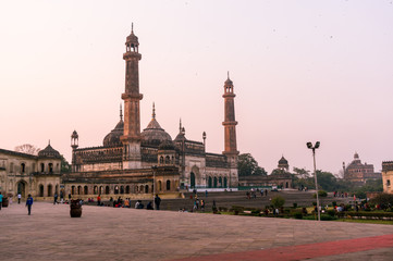 Lucknow, India - 3rd feb 2018: The famed asfi mosque in the bara imambara complex in lucknow shot at dusk. This famous landmark is a major tourist attraction