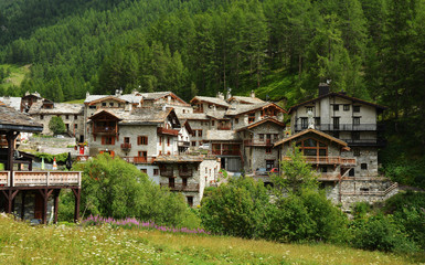 View of old part of Val d'Isere, ski resort, and commune of the Tarentaise Valley, in the Savoie department (Auvergne-Rhone-Alpes region) in southeastern France.