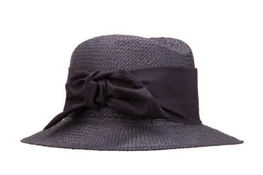 Summer black hat on a white background