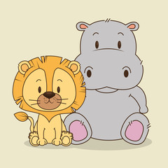 cute and little lion and hippo characters vector illustration design