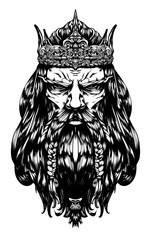 harsh old king with a crown