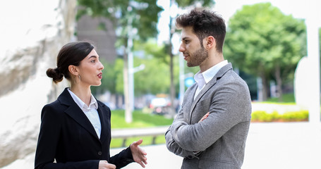 Business partners discussing together