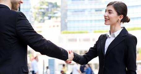 Handshake between business people outdoor