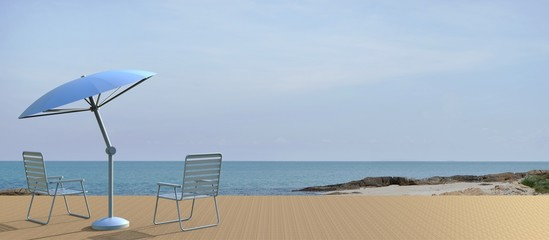 Beach living and chair modern on Sea view in Holiday / 3d render