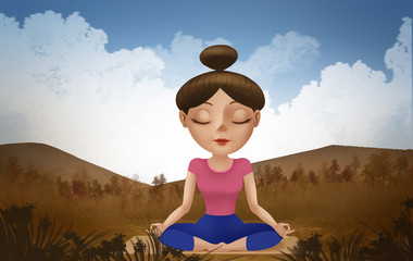 Female yoga and beautiful views.Digital painting illustration of beautiful cartoon woman in poses of yoga.