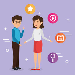 business couple avatars with social media marketing vector illustration design